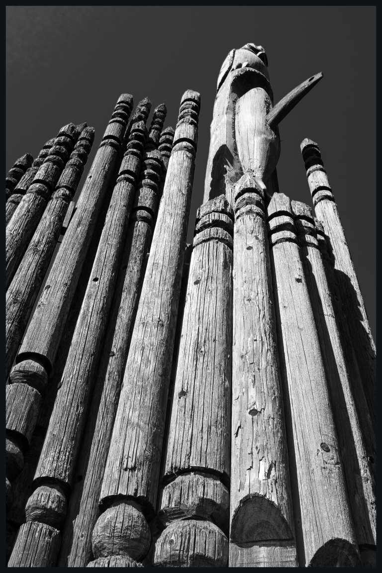 more totem poles on Burnaby Mountain b&w
