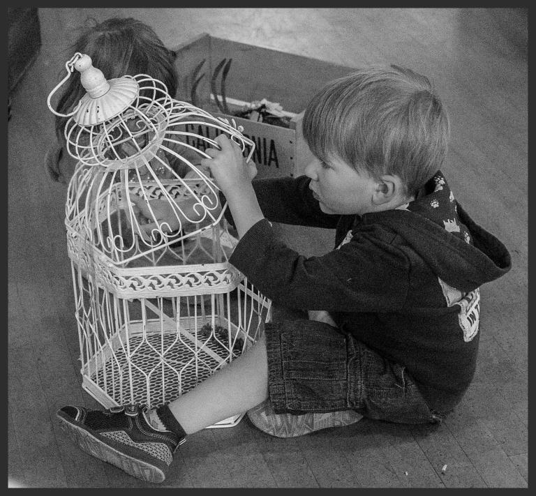boy with cage b&w