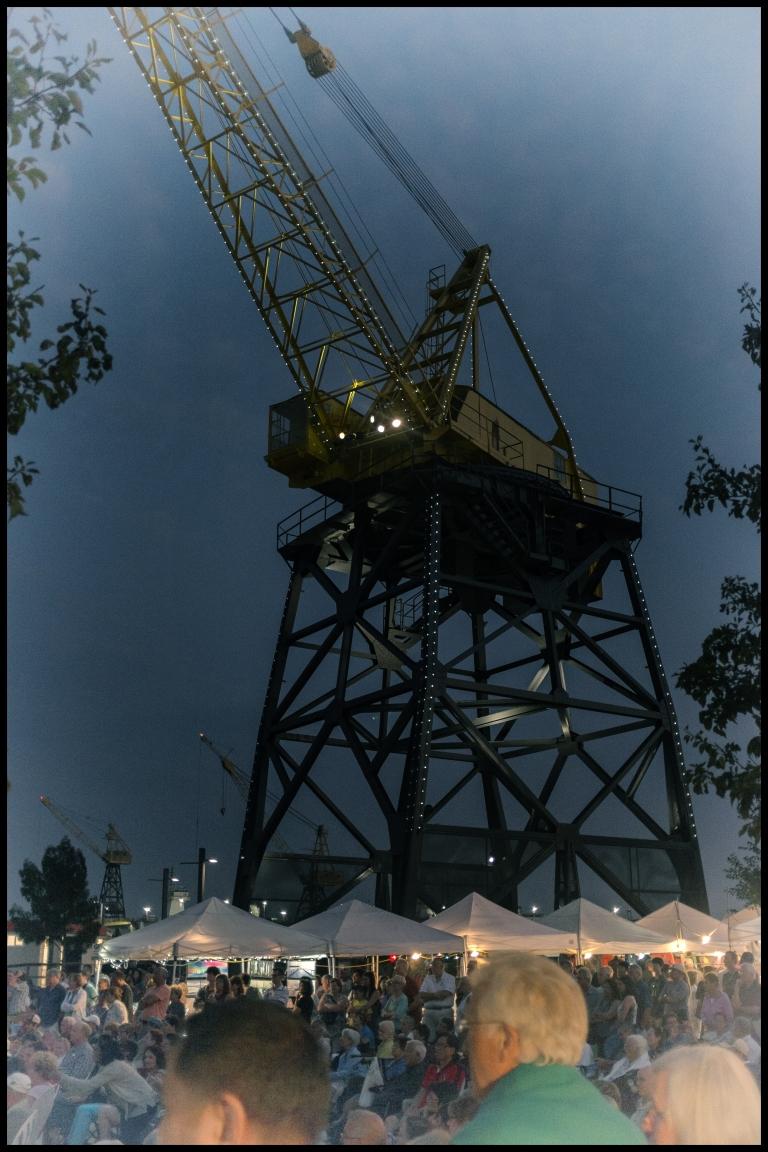 crane at dusk
